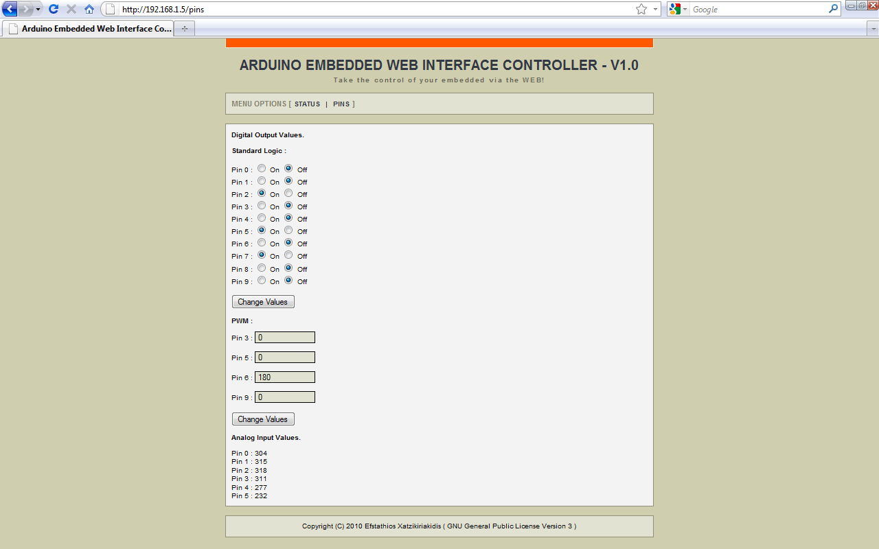 Arduino: Embedded Arduino Web Controller    Efstathios Chatzikyriakidis