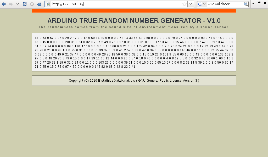 Arduino true random number generator efstathios